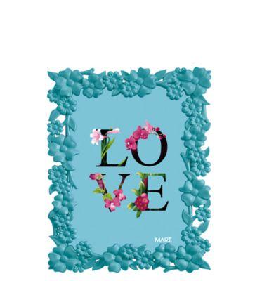 Porta Retrato Flores 22,5x17,5cm Plástico Azul