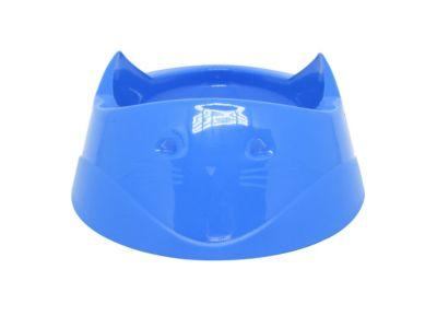 Comedouro de Plástico Cara do Gato Azul