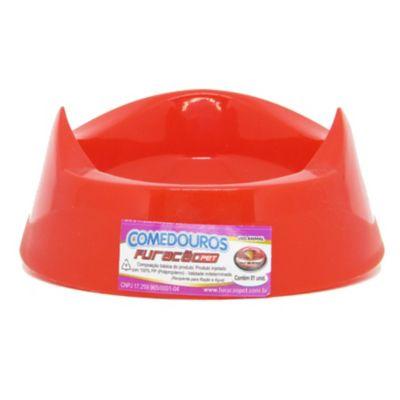 Comedouro de Plástico Cara do Gato Vermelho