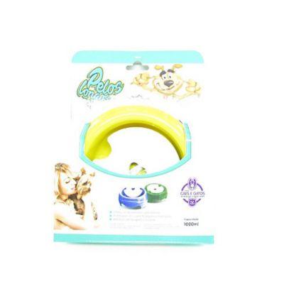 Bebebouro de Plástico Especial para Cães 1L Amarelo