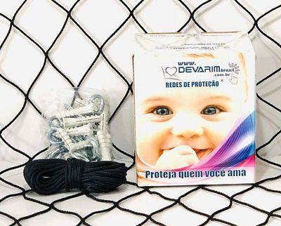 Rede de Proteção Inox para Sacadas 800x220cm Preto