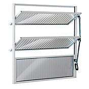 Janela Basculante de Alumínio Vidro Canelado 60x60cm Branco