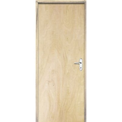 Porta Montada de Giro Lisa de Madeira Sarrafeada Pinus Abertura Lado Direita 210x82x9cm Economica