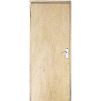 Porta Montada de Giro Lisa Madeira Sarrafeada Pinus Esquerda 210x82x9cm Economica