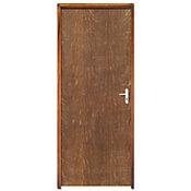 Porta Lisa Padrão Imbuia com Ferragens Batente Pinus Esquerdo 210x72x11cm