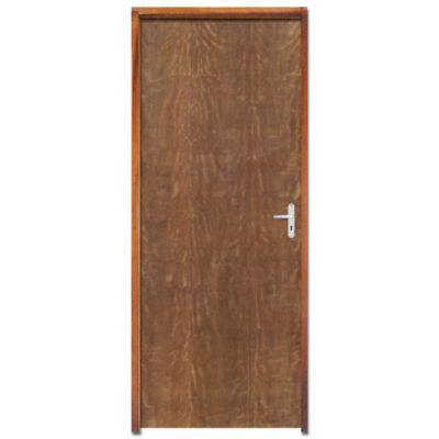 Kit Porta Montada Lisa Padrão Imbuia com Ferragens Batente Pinus Direito 210x82x11cm LG Esquadrias