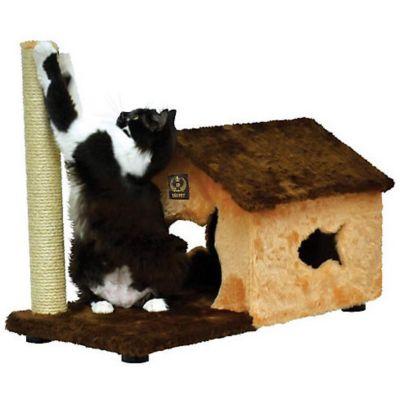 Aranhador para Gatos Fit House Pelúcia Lisa 70x36x55cm Marrom e Bege