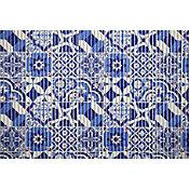 Tapete Tropical Azulejo Português 43x1,30cm Azul