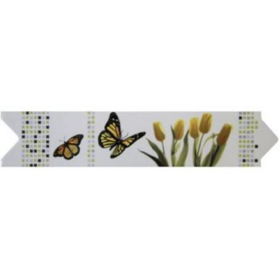 Filete de Porcelana Borboleta 7x33cm 5 Peças Verde e Amarelo