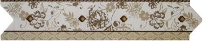 Filete de Porcelana Floral 7x33cm 5 Peças Bege