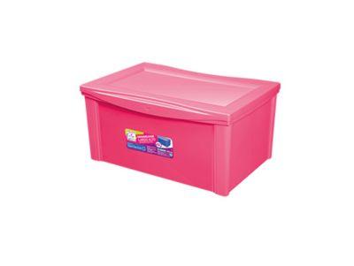 Caixa Organizadora Plástico Larga Alta 65L Rosa