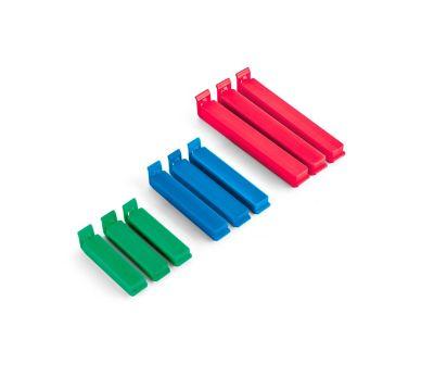 Conjunto com 9 Clipes Plásticos para Embalagens Azul Verde Vermelho
