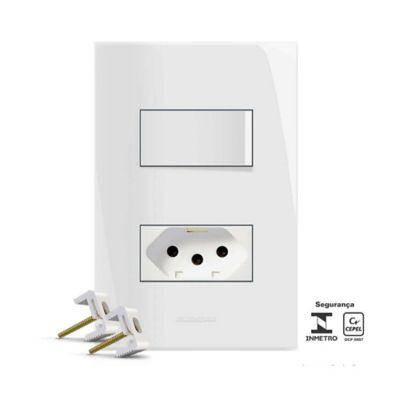 Conjunto Interruptor Simples E Tomada 4x2 10A Branco Inova