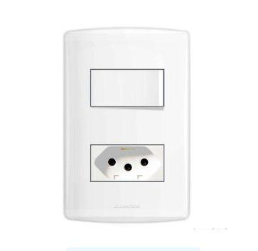 Conjunto Interruptor Simples E Tomada 4X2 10A Bianca Branco
