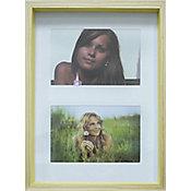Painel Fotográfico 2 Fotos Wood em Madeira 20x30cm Natural e Amarelo
