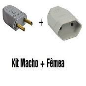 Plug Macho 2 Portas + Femea 10A