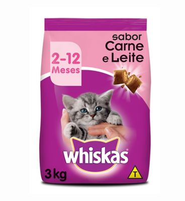 Ração Seca para Gatos Filhotes Sabor Carne e Leite 3Kg