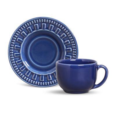 Xícara de Chá com Pires Roma Navy Azul