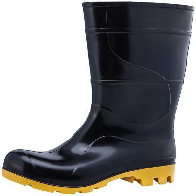 Bota de PVC n41 Cano Médio com Forro Preto e Amarelo