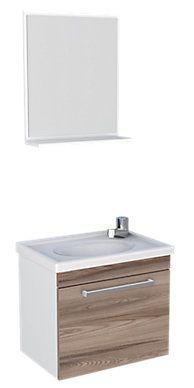 Conjunto de Gabinete e Espelho 45cm Branco e Tamarindo