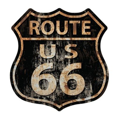 Placa Decorativa Route US 66 29cm Preto