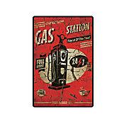 Placa Decorativa Gas Station 29x19cm Vermelho
