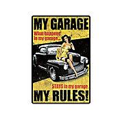 Placa Decorativa My Garage My Rules 29x19cm Amarelo