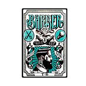 Placa Decorativa Barber Shop 44x29,5cm  Verde