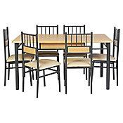 Conjunto de Jantar 7 Peças 76x150x90 cm Bege
