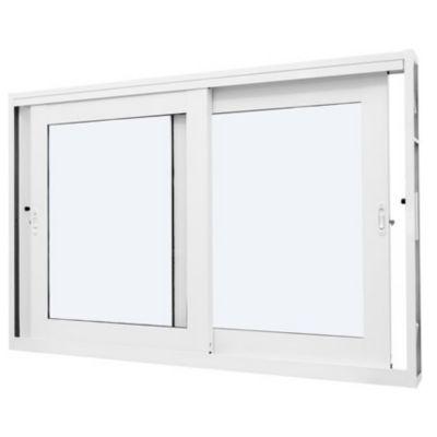 Vitro de Correr de Aço Vidro Liso 100x150cm Branco Qualitysol