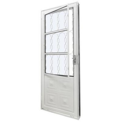 Porta Grade e Vidro Direito 215x83cm Branco Qualitysol