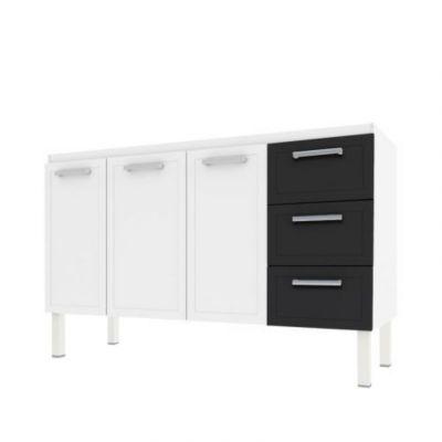Gabinete de Cozinha Apolo Flat 91x144cm Branco e Preto