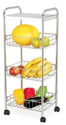 Carrinho para Frutas 33x27x78cm Desmontável Cromado