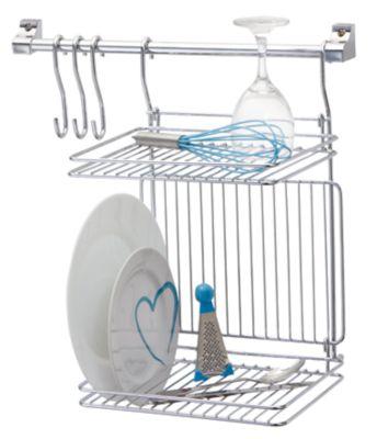 Kit Organizador para Cozinha com Escorredor Prateleira e 3 Ganchos Prata
