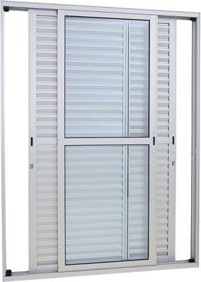 Porta Balcão Aluminio 3 Folhas 216x120x13cm Abertura Direta e Esquerda Vidro Liso Branco Alumifort
