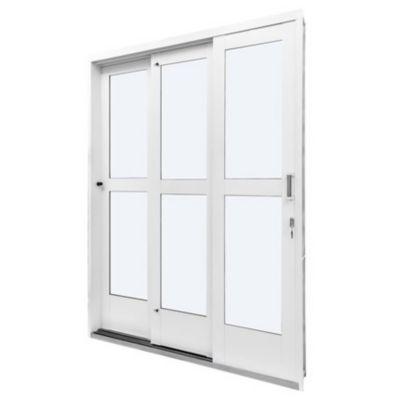 Porta de Correr com Travessa Aço Branco 3 Folhas Direita 215x152x14cm Qualitysol