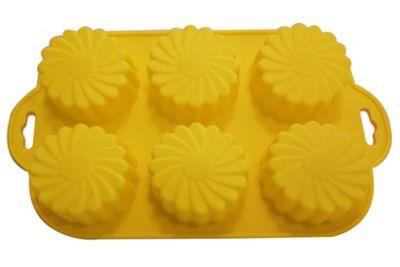 Forma para Cupcake Ondulada de Silicone Amarelo
