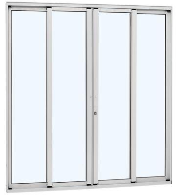 Porta de Correr de Aluminio 4 Folhas 216,5x250,5cm Branco Alumifort