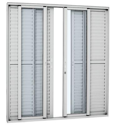 Porta Balcão Veneziana de Correr Vidro Inteiriço Alumínio Branco 6 Folhas Central 216x250x13cm Alumifort