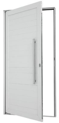 Porta Pivotante de Aluminio Lambril Horizontal Direito com Puxador Fechadura Multiponto 216x110x8cm Branco Alumifort
