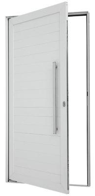 Porta Pivotante de Aluminio Lambril Horizontal Direito com Puxador Fechadura Multiponto 216x100x8cm Branco Alumifort