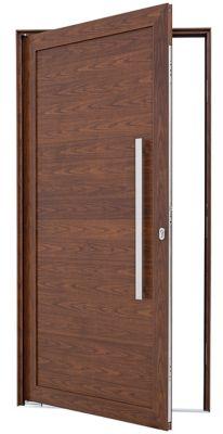 Porta Pivotante de Aluminio Lambril Horizontal Direito com Puxador Fechadura Multiponto 216x110x8cm Madeira Alumifort