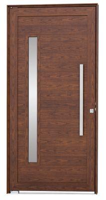 Porta Pivotante de Aluminio Lambril Horizontal Esquerdo com Puxador Vidro 216x110x8cm Madeira Alumifort