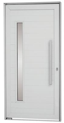 Porta Pivotante de Aluminio Lambril Horizontal Esquerdo com Puxador Vidro Fechadura Multiponto 216x100x8cm Branco Alumifort
