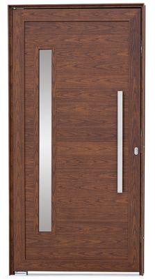 Porta Pivotante de Aluminio Lambril Horizontal Direito com Puxador Vidro Fechadura Multiponto 216x110x8cm Madeira Alumifort