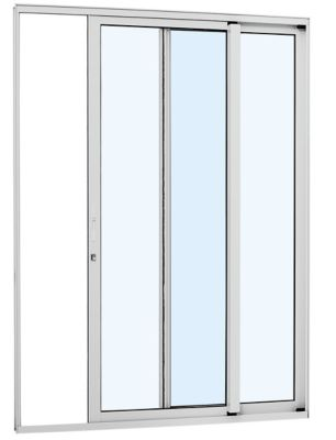 Porta de Correr Vidro Inteiriço Alumínio Branco 2 Folhas Direita 216x160x8,7cm Alumifort