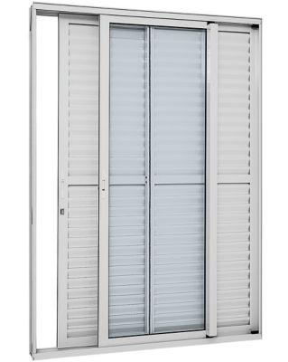 Porta Balcão de Correr Veneziana de Aluminio 3 Folhas Direito com Vidro Temperado Inteiriço 216x120x13cm Branco Alumifort