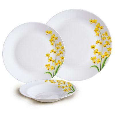 Aparelho de Jantar Yellow Grace 12 Peças Branco e Amarelo