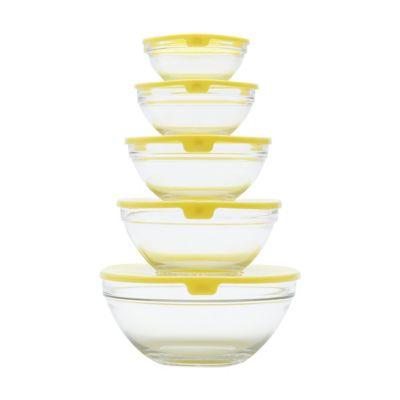 Jogo com 5 Bowls de Vidro Sodo Calcico Tranparente Sortido