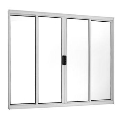 Janela de Correr Alumínio Branco 4 Folhas Central 100x150x5cm Ecosul